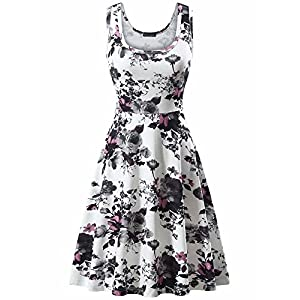 FENSACE Women's Scoop Neck Sleeveless Midi Casual Flared Tank Floral Printed Dress