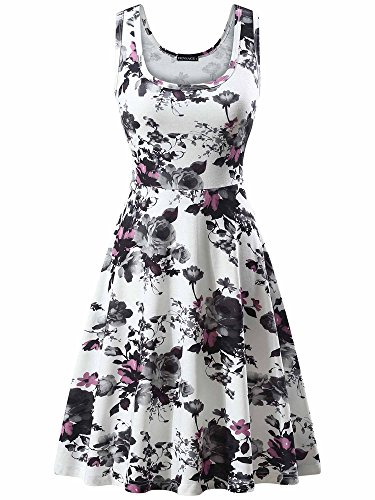 FENSACE Women's Tank Top Midi Blue Floral Sun Dresses,18034-8,Large