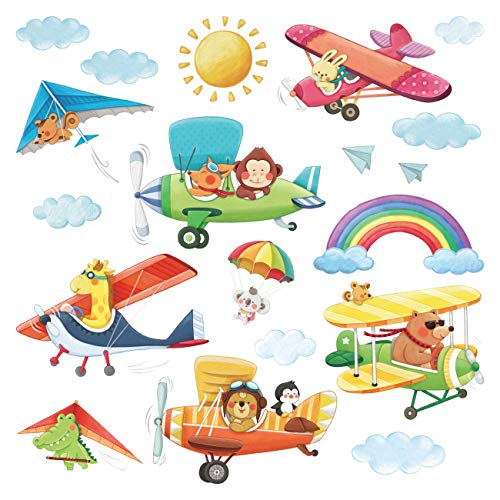 Decowall DS-8026 Animal Biplanes Kids Wall Stickers Wall Decals Peel and Stick Removable Wall Stickers for Kids Nursery Bedroom Living Room (Small)