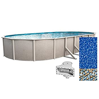 Wilbar Impressions 18-Foot-by-33-Foot Oval Above-Ground Swimming Pool | 48-Inch Height | Resin Protected Steel-Sided Walls | Bundle with Bedrock Pattern 25 Gauge Overlap Liner and Widemouth Skimmer