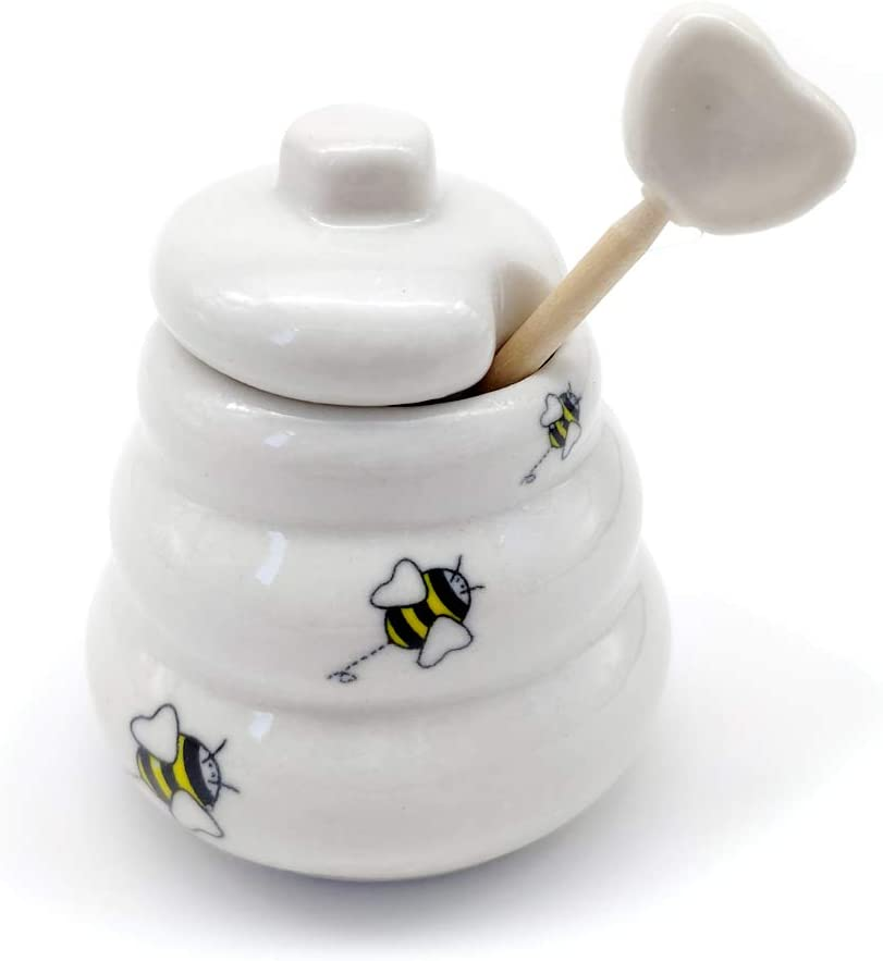 HuaZo Child Honey Pot & Dipper,Ceramic Beehive Honey Pot,Gift for A Friend