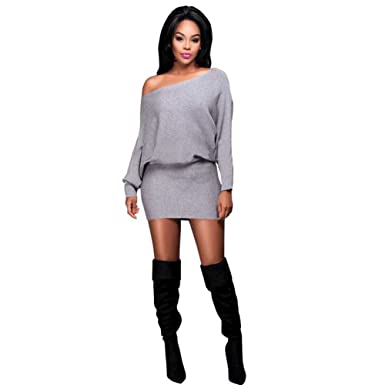 212c475283f Sexy Women Bodycon Long Sleeve Sweaters Dress BKY13-2-010 at Amazon ...