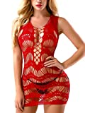 FasiCat Women's Mesh Lingerie for Women Fishnet Babydoll Mini Dress Free Size Bodysuit Red Style 7