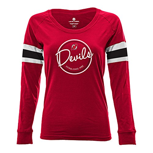 Levelwear LEY9R NHL New Jersey Devils Adult Women Finish Line Tailgate Long Sleeve V-Neck Tee, Medium, Solid Flame Red/White
