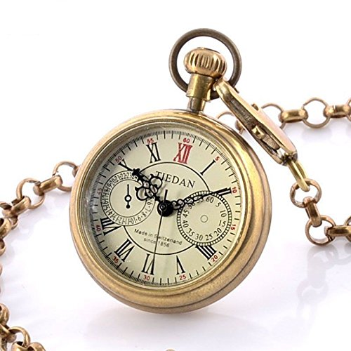 Glorio Antique Steampunk Full Copper Open Face Skeleton Mechanical Windup Pocket Watch Charm Pendant Necklace Prop Men Women Gift