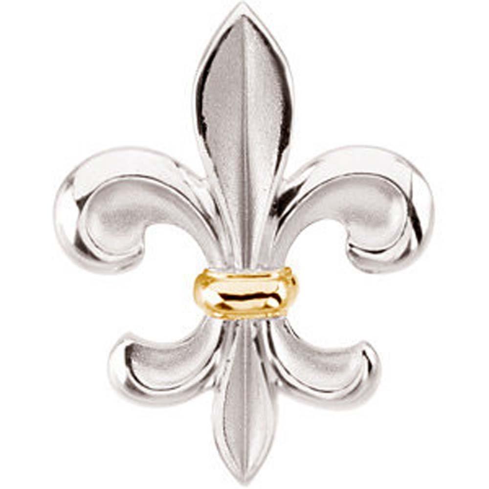 Fleur-De-Lis Brooch in Sterling Silver & 14k Yellow Gold