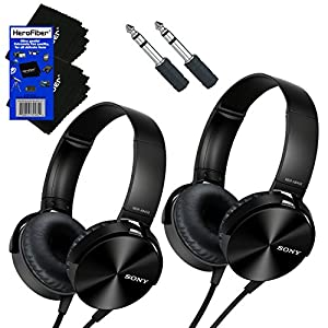 Sony MDRXB450AP Extra Bass Headphones with In-Line Microphone Remote Control (Black) + Mini Plug to 1/4 inch Headphone Adapter + HeroFiber Ultra Gentle Cleaning Cloth (2 pack)