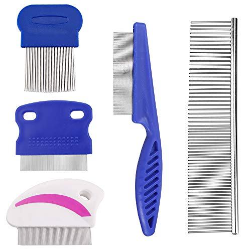Sonku 5 Pcs Dog Tear Stain Remover Combs Set, Pets Stainless Steel Grooming Combs,Gently and Effectively Removes Stains,Mucus and Crust (Comb Set Dog)