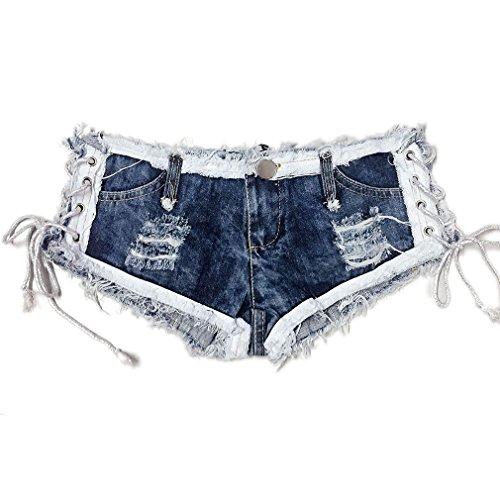 Low Rise Hot Shorts - Soojun Women's Low Rise Side Straps Cheeky Mini Denim Shorts Clubwear, US 0-2, Style 4