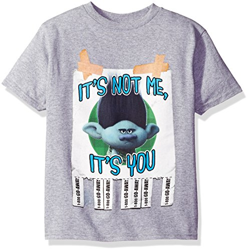 Care Label Cotton (Trolls Boys' Big Boys' Call Someone Who Cares Youth Short-Sleeved T-Shirt Tearaway Label, Heather Grey, S)