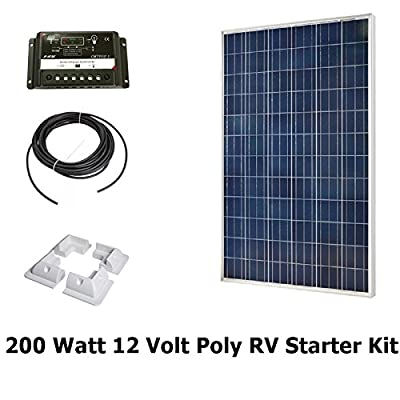 Infinium 200 Watt Solar Panel Complete Off-Grid RV Boat Kit 2 x 100 Watt + 30 AMP USB PWM Charge Controller + 30' Solar Cable + Drill Free Mounting Brackets