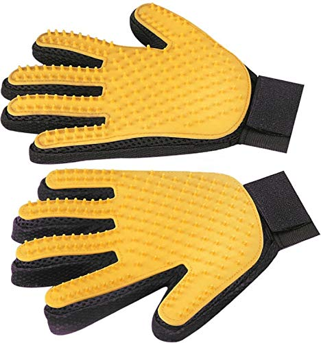 Pet Hair Remover Glove – Gentle Pet Grooming Glove Brush Deshedding Glove – Massage Mitt with Enhanced Five Finger Design for Dogs & Cats with Long & Short Fur