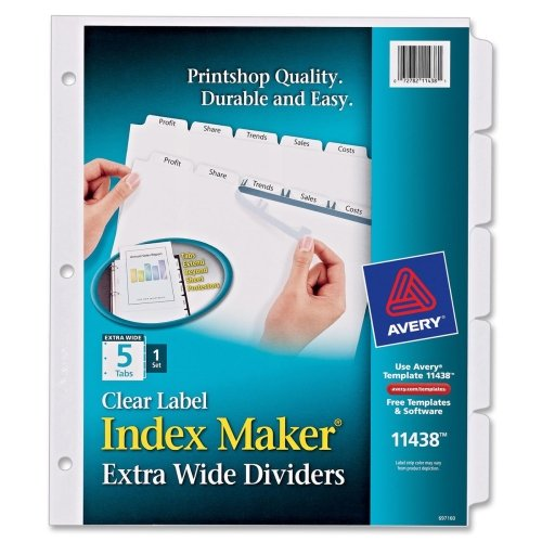 Avery Index Maker Extra-Wide Clear Label Dividers, White,  5-Tab Set (11438)