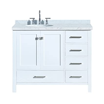 ariel cambridge a043s l vo wht 43 inch left offset single sink bathroom vanity in white with carrara marble countertop round oval sink rh amazon com 43 inch bathroom vanity combo 43 inch bathroom vanity combo