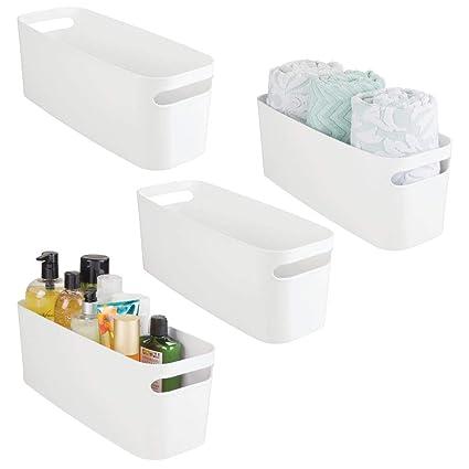 mDesign Juego de 2 organizadores de baño – Caja de plástico para guardar  cosméticos y productos be1b5a8e1883