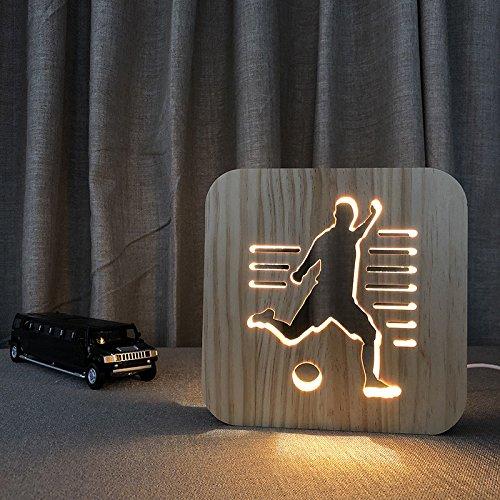 クリエイティブ3d漫画木製Nightlight、LEDテーブルデスクランプUSB電源のホームベッドルームの装飾ランプの、ギフト大人用子供用女の子寝室リビングルームNightstand フットボール フットボール B07D14PN7J, オオフナトシ:d0869e4d --- ijpba.info