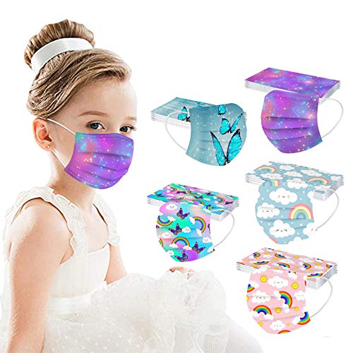 【USA In Stock】50PCS Kids Disposable Colorful Face_ Masks, 3 Starry Sky Gradient Colorful Printed Design Face_ Masks with Elastic Earloop(5Patterns mix shine-children)
