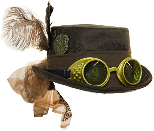 Jacobson Hat Company Deluxe Velvet 4.25 Inch Steampunk Top Hat With Removable Goggles (Brown), One Size -