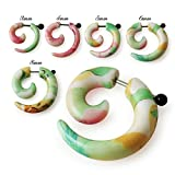 Fake Ear Plugs Green Floral Pattern UV Spiral with 16 Gauge 316L Surgical Steel Body jewelry