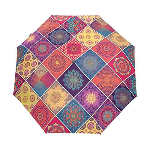 (LEISISI Classical National Pattern 3 Folds Auto Open Close Umbrella Windproof UV Protection Umbrella)