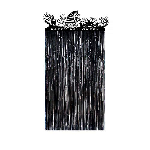 Halloween Wedding Entrance (VEYLIN Halloween Door Curtain, Black Shiny Entrance Door Decorations with Halloween Skeleton Self-adhesive Sticker(3.28X6.56)