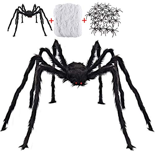 Jumping Spider Halloween Decorations (Halloween Decorations Outdoor with 6.6 Ft Giant Spider Scary Hairy Spider, 400sqft Fake Spider Web, 20 Black Plastic Spiders Props for Outside Indoor House Yard Halloween Decor Party Favor, 3)
