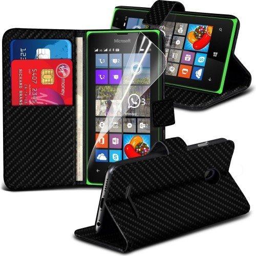 Microsoft Lumia 435 Carbon Wallet Case Cover (Negro) Plus de regalo libre, Protector de pantalla y un lápiz óptico, Solicitar ahora mejor caja del teléfono Valorado en Amazon! By FinestPhoneCases