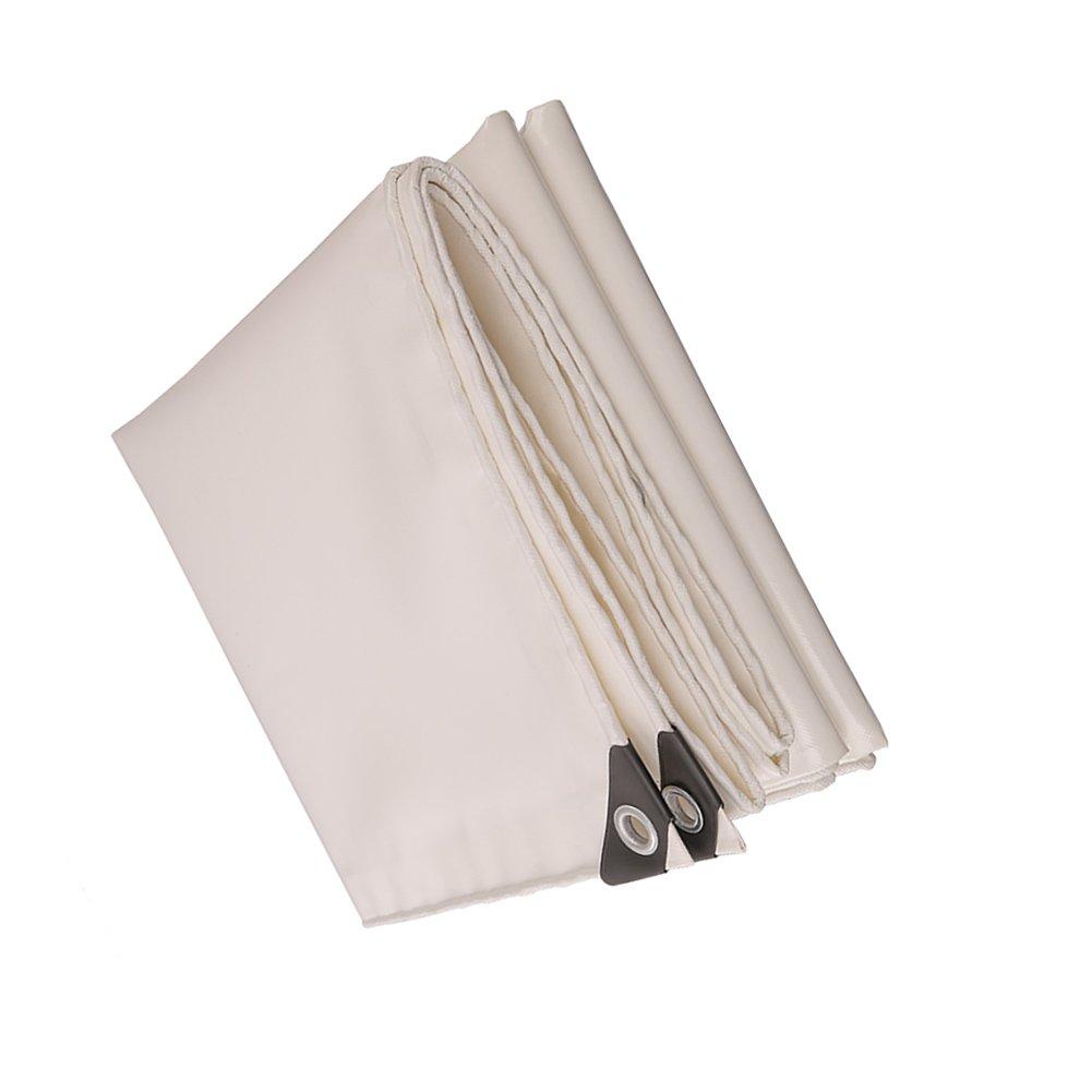 HQCC Wasserdichte Plane-Abdeckungen der harten Beanspruchung im Freien PVC regendichte Tarp-Plane - Weiß, 520 G M² (größe   5x8m)