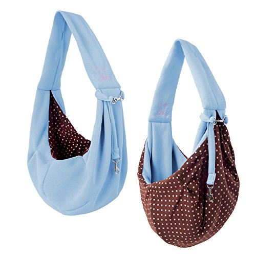 iPrimio Dog and Cat Hands Free Carrier Sling - Reversible Carrier Bag Papoose. Super Soft Pouch and Tote. Great Dog and Puppy Carrier / Cat Carrier. Front Pack and Purse Design. By iPrimio. Light Blue