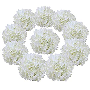 Flojery Silk Hydrangea Heads Artificial Flowers Heads for Home Wedding Decor,Pack of 10 94