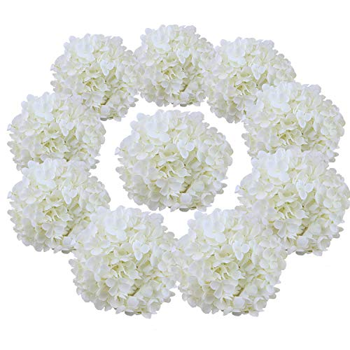 Small Hydrangea (Flojery Silk Hydrangea Heads Artificial Flowers Heads for Home Wedding Decor,Pack of 10 (Off-White))