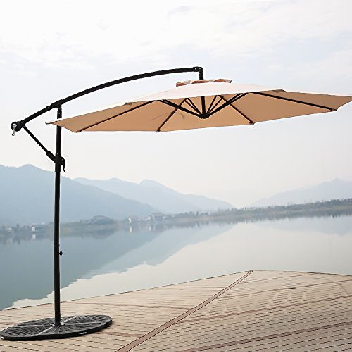 C-Hopetree 10' Offset Patio Umbrella, Outdoor Cantilever Umbrella with Cross Base, 250gsm Polyester Canopy, Beige