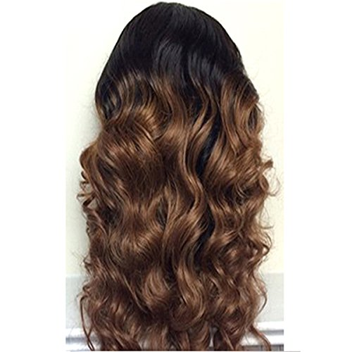 Doubleleafwig Body Wave Human Hair Lace Front Wigs 130% Density Brazilian Virgin Full Lace Wig with Baby Hair for Black Women 1B Ombre #4 Color (20 Inch, Lace Front Wig) by Doubleleafwig (Image #3)