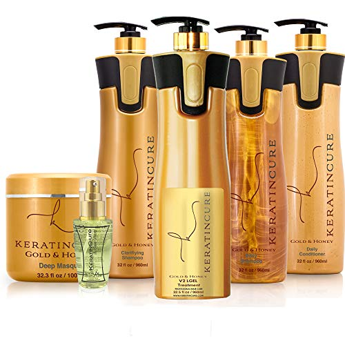 Keratin Cure Best Treatment Gold & Honey V2 Lgel 32 Oz 6 Piece Kit STRONG Intensive Extracts Professional Complex (6 pc/ 32 FL OZ)