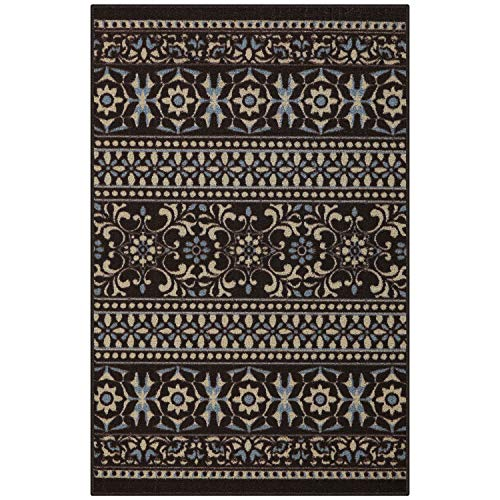 Maples Rugs Accent Rug - Zoe 2'6 x 3'10 Non Skid Hallway Entry Rugs Accents [Made in USA] for Kitchen and Entryway, Brown