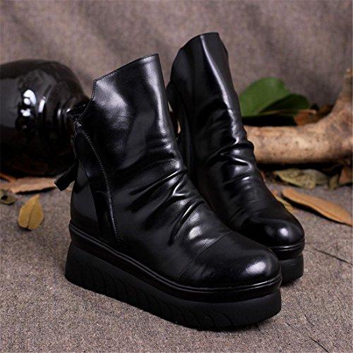 Mujeres Nueva moda Botas cortas Botas de algodón Parte inferior gruesa Zapatos flojos Piso Cabeza redonda Cuero Genuino Cremallera doble Otoño Invierno Black