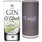 GIN GLASS - Gin & Tonic HighBall Glass & Gift Tube Set - A Funny Novelty G&T Gift For Any Gin Lover (It's Gin O'Clock Hi Ball G&T Glass)