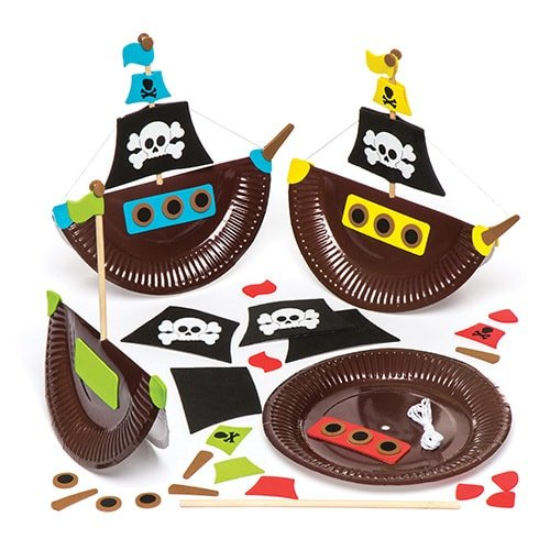 - Pirate Ship Plate Kits (Pack of 4) Kids to Make & Decorate