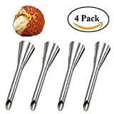 HULISEN 4Pcs Cream Icing Piping Nozzle Tip Stainless Steel Long Puff Nozzle Tip Decorating Tool