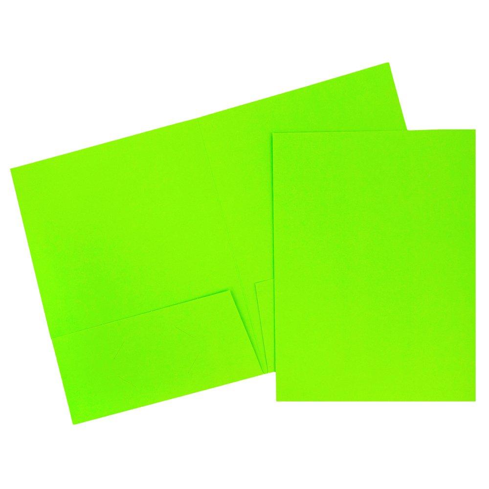 JAM Paper 2 Pocket Cardstock Presentation Folders - Neon Green - 120/Box