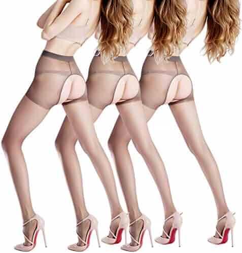 e0f09eb391 BONAS 3 Packs Womens Crotchless Pantyhose Sexy Plus Size Black Sheer  Stockings Hosiery