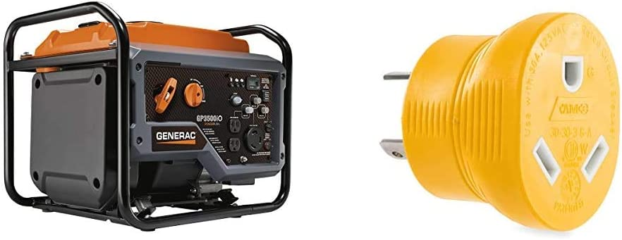 Generac GP3500iO Open Frame RV Ready Inverter Generator & Camco Heavy Duty PowerGrip 30 Amp 3 Prong Generator Adapter for RVs and Autos - Contoured Shape For Easy Grip and Removal (55333)