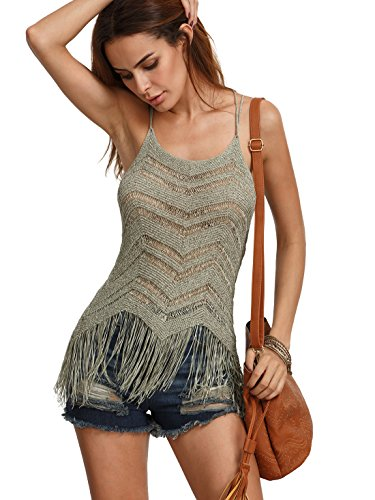 Romwe Women's Sexy Criss Cross Back Tank Tassel Hem Cami Top Army-Green One-Size (Cami Fringe)