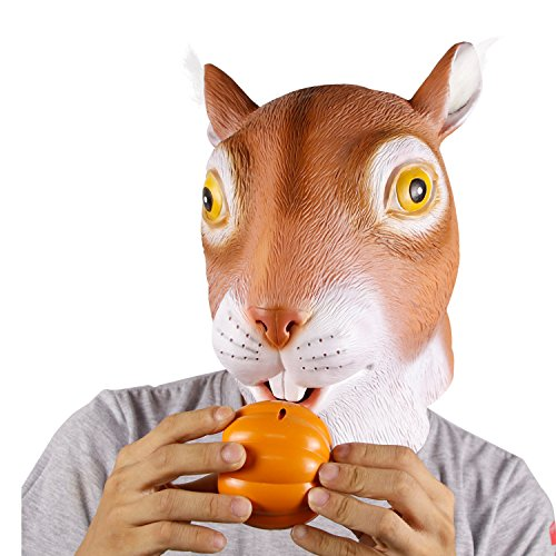 Molezu Cute Squirrel Mask, Halloween Costume Party Latex Animal Head Mask for Adult