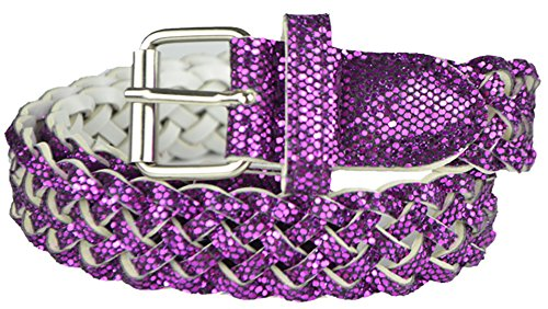 (Girls Belt - Colorful Metallic Glitter Braided Faux Leather Belt for Kids by Belle Donne - Purple X-Large)