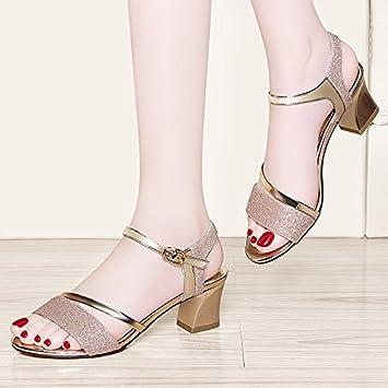 RUGAI-UE European Waterproof Sandals High Heels Womens Sandals