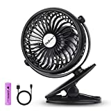 SkyGenius Battery Operated Clip on Fan, Mini Desk Fan Portable Handheld Powered by Rechargeable Battery or USB, Small Personal Fan for Baby Stroller Car Laptop Table Camping Outdoors Home Office