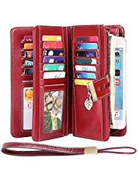 HUANLANG Large Womens Wallet Leather Vintage RFID Blocking Ladies Credit Card Clutch Wallets for Women with Wrist Strap (Leaf Wine Red)
