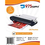 """975 Supply - 7 Mil Clear Menu Size Thermal Laminating Pouches - 12"""" X 18"""" - 100 Pouches"""