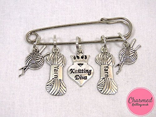 Jewelry Diva Gifts (Knitting Diva - 5 Silver Knitting Stitch Markers by Charmed Knitting)